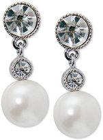 Lauren Ralph Lauren Silver-Tone Imitation Pearl and Crystal Drop Earrings