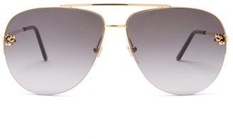 Cartier Panthere De Core Aviator Metal Sunglasses - Grey Gold