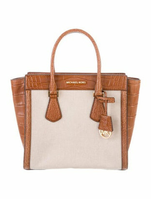 MICHAEL Michael Kors Embossed Leather-Trimmed Tote gold