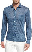 Isaia Mélange Linen Knit Sport Shirt, Blue