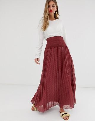Asos Design DESIGN shirred waist pleated maxi skirt in dobby-Multi
