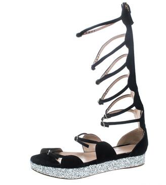 Giambattista Valli Black Suede Glitter Platform Flat Gladiator Sandals Size 38.5