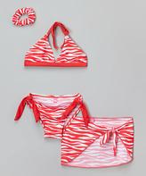 Sweet & Soft Red Zebra Bikini & Hair Tie - Infant