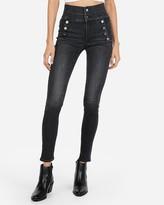Express Super High Waisted Denim Perfect Black Button Front Leggings
