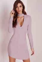 Missguided Crepe Choker Curve Hem Cut Out Bodycon Dress Mauve