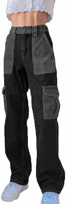Miaouyo Womens Patchwork Straight Jeans High Waist Color Block Jeans Wide Leg Denim Trousers Denim Patch Baggy Pants Jeans Streetwear (Grey S)