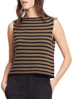 Vince Striped Cotton Cropped Shell Tank, Military/Black