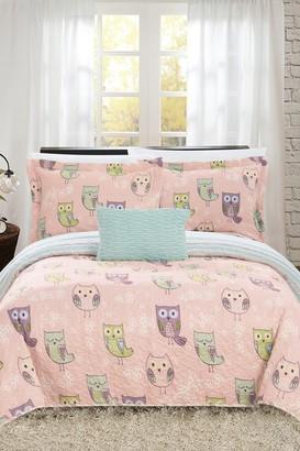 Full Bubo Reversible Cute Owls Theme Print Design Quilt 4-Piece Set - Pink