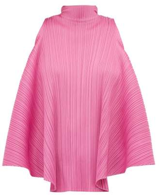 Pleats Please Issey Miyake High Neck Ribbon Tie Top - Womens - Pink