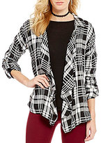 Copper Key Plaid Open Drape Front Shirt Jacket