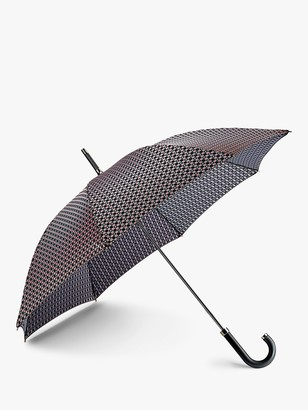 Fulton Foulard Print Walking Umbrella, Black/Pink