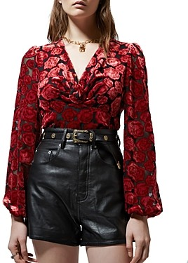The Kooples Faded Roses Burnout Top
