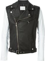 Pierre Balmain contrast sleeve biker jacket - men - Cotton/Leather/Polyester/Spandex/Elastane - 50