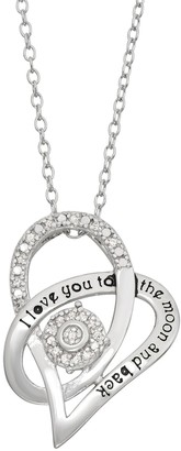 """Sterling Silver 1/10 Carat T.W. Diamond """"I Love You to the Moon and Back"""" Pendant Necklace"""
