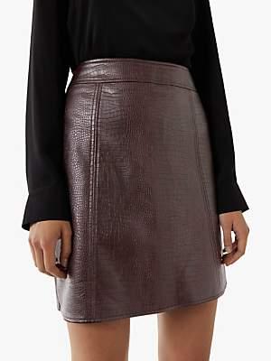 Warehouse Croc PU Mini Skirt, Berry