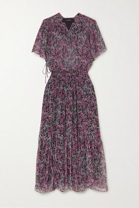 Isabel Marant Odelia Tiered Floral-print Silk-chiffon Midi Dress - Charcoal