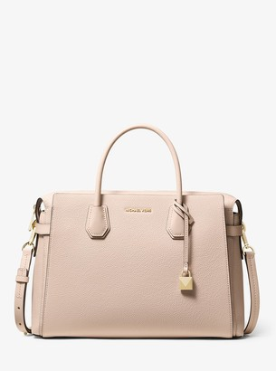 MICHAEL Michael Kors Mercer Large Pebbled Leather Belted Satchel