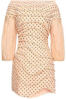 Zimmermann Off-the-shoulder Pompom-trimmed Polka-dot Linen Mini Dress
