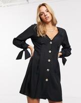 Asos Design DESIGN button through mini skater dress with tie sleeves