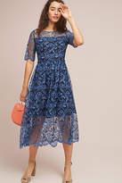 Shoshanna Dandelion Embroidered Midi Dress