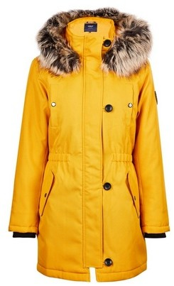 Dorothy Perkins Womens Only Yellow Faux Fur Parker Coat