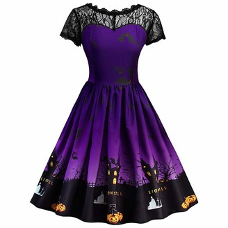 VJGOAL Womens Autumn Halloween Dress Short Sleeve Retro Lace A Line Swing Dress Ladies Halloween Vintage Pumpkin Printed Dress