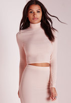 Missguided Tall High Neck Ribbed Crop Top Nude