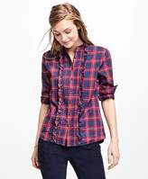 Brooks Brothers Tartan Ruffle Shirt
