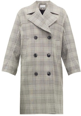 Ganni Prince Of Wales-check Double-breasted Coat - Womens - Grey