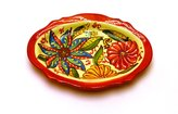 "Art Escudellers Ceramic , handmade and handpainted in flower decoration. 7,28"" x 5,51"" (RED)"