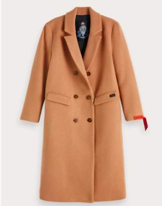 Scotch & Soda Camel Classic Long Double-Breasted Wool Coat - Medium (UK10-UK12)