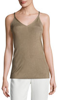 Lafayette 148 New York Radiant Shimmer Ribbed Tank, Light Brown
