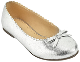 John Lewis Children's Ballerina Scallop Edge Pumps, Silver