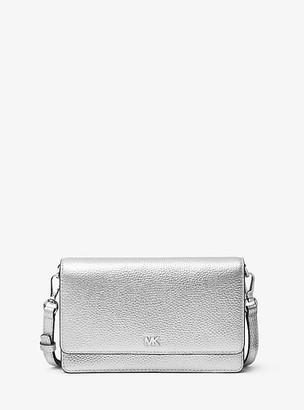 MICHAEL Michael Kors MK Metallic Pebbled Leather Convertible Crossbody Bag - Silver - Michael Kors