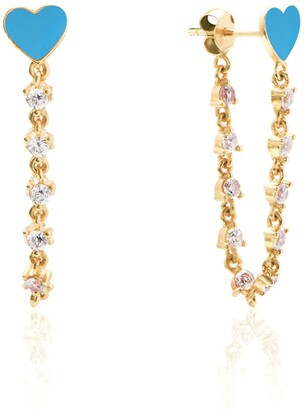 Gab+Cos Designs 14K Yellow Gold Vermeil Enamel Heart & CZ Detailed Front To Back Chain Earrings