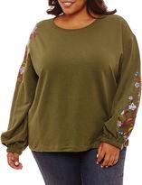 A.N.A a.n.a Long Sleeve Floral Sweatshirt-Plus