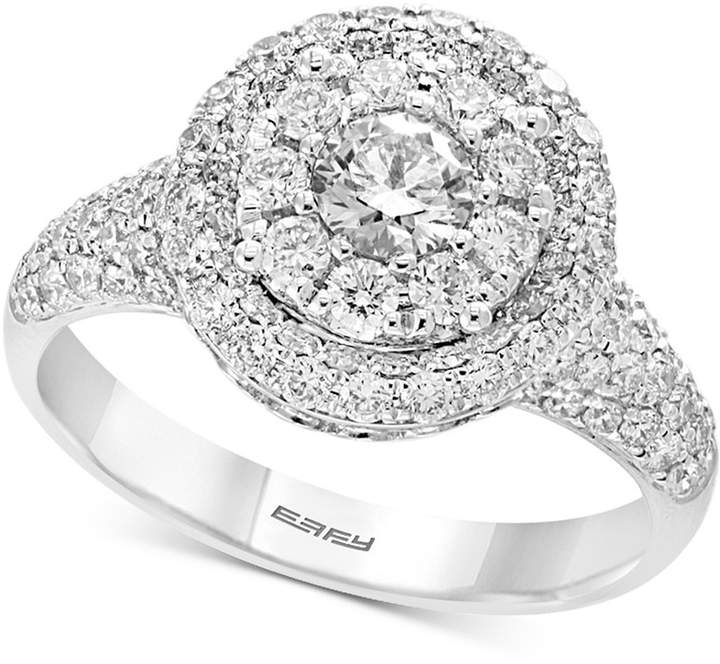 Effy Pave by Diamond Halo Ring (1-1/2 ct. t.w.) in 14k White Gold