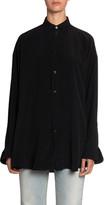 Balenciaga Logo-Graphic Silk-Crepe Button-Front Blouse