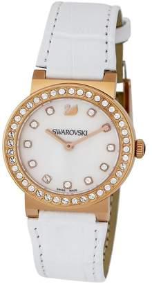 Swarovski Women's Citra Sphere Mini Crystal Accented Croc Embossed Leather Watch, 32mm