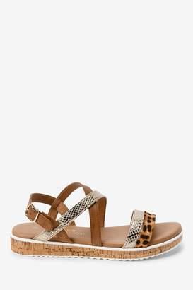 Next Womens Animal Regular/Wide Fit Forever Comfort Cork Flatform Sandals - Animal