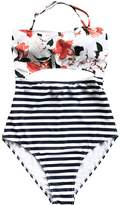 Seaselfie Women's Lilies Printing igh-waisted Back Tied One Piece Bikini Swinwear Large