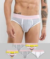 Asos U Bound Briefs With Stripes And Pink Waistband 5 Pack SAVE