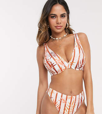 Peek & Beau Exclusive recycled polyester high leg bikini bottom in tropical stripe-White