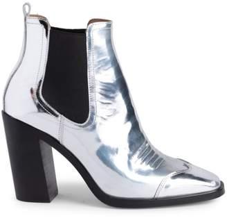 Off-White Off White Block Heel Metallic Cowboy Booties