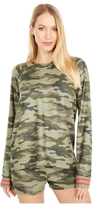 PJ Salvage In Command Camo Sweatshirt (Olive) Women's Clothing