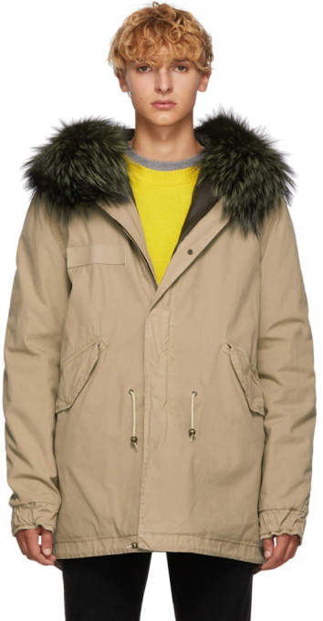 Mr & Mrs Italy Beige and Green Canvas Small Hooded Fur Parka