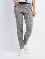 Charlotte Russe Marled Faux Leather-Trim Jogger Pants