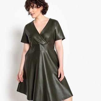 Castaluna Plus Size Faux Leather Wrapover Skater Dress