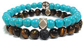 Steve Madden Stainless Steel Duo Turquoise and Tigers Eye Beaded Bracelets