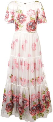 Marchesa Floral Print Long Dress